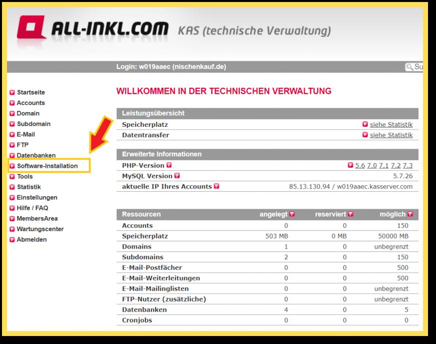 Wordpress unter Allinkl installieren - 5 Schritte Bilder Anleitung 10