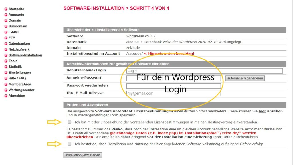 Wordpress unter Allinkl installieren - 5 Schritte Bilder Anleitung 14